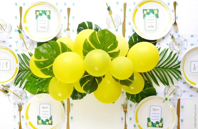 DIY Balloon & Fronds Tropical Party Centerpiece